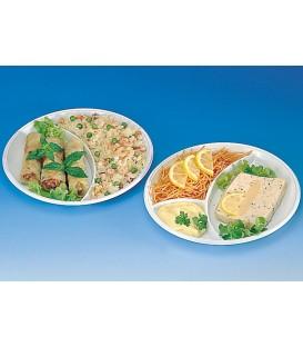 Assiettes trois compartiments rondes